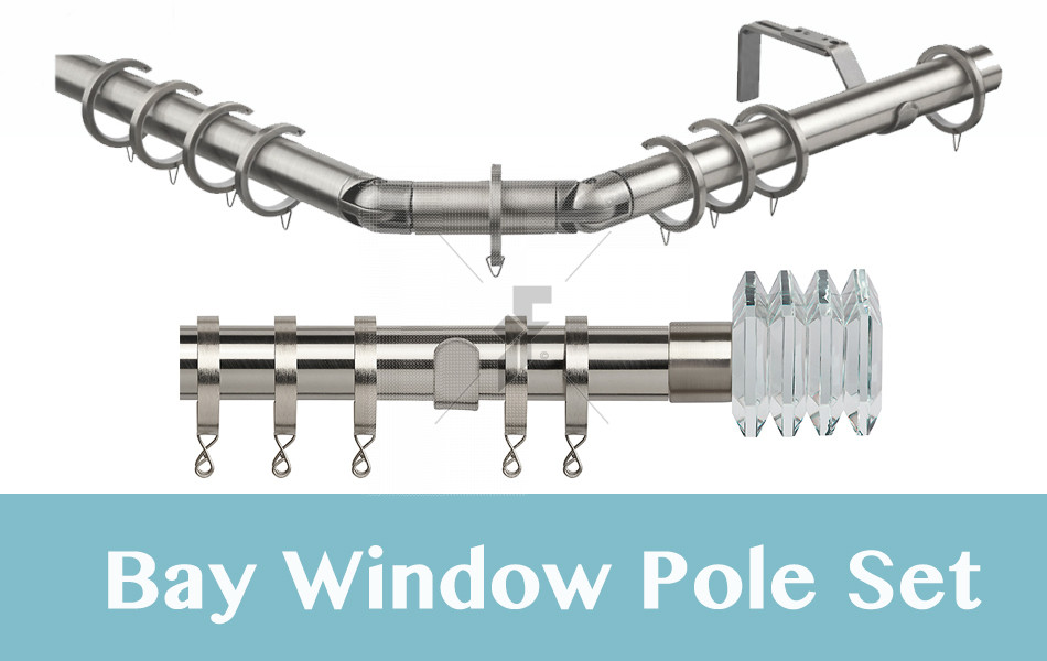 28mm Poles Apart Premier 3-Sided Bay Pole With Pair of Squares Finials - Satin Silver - 420cm