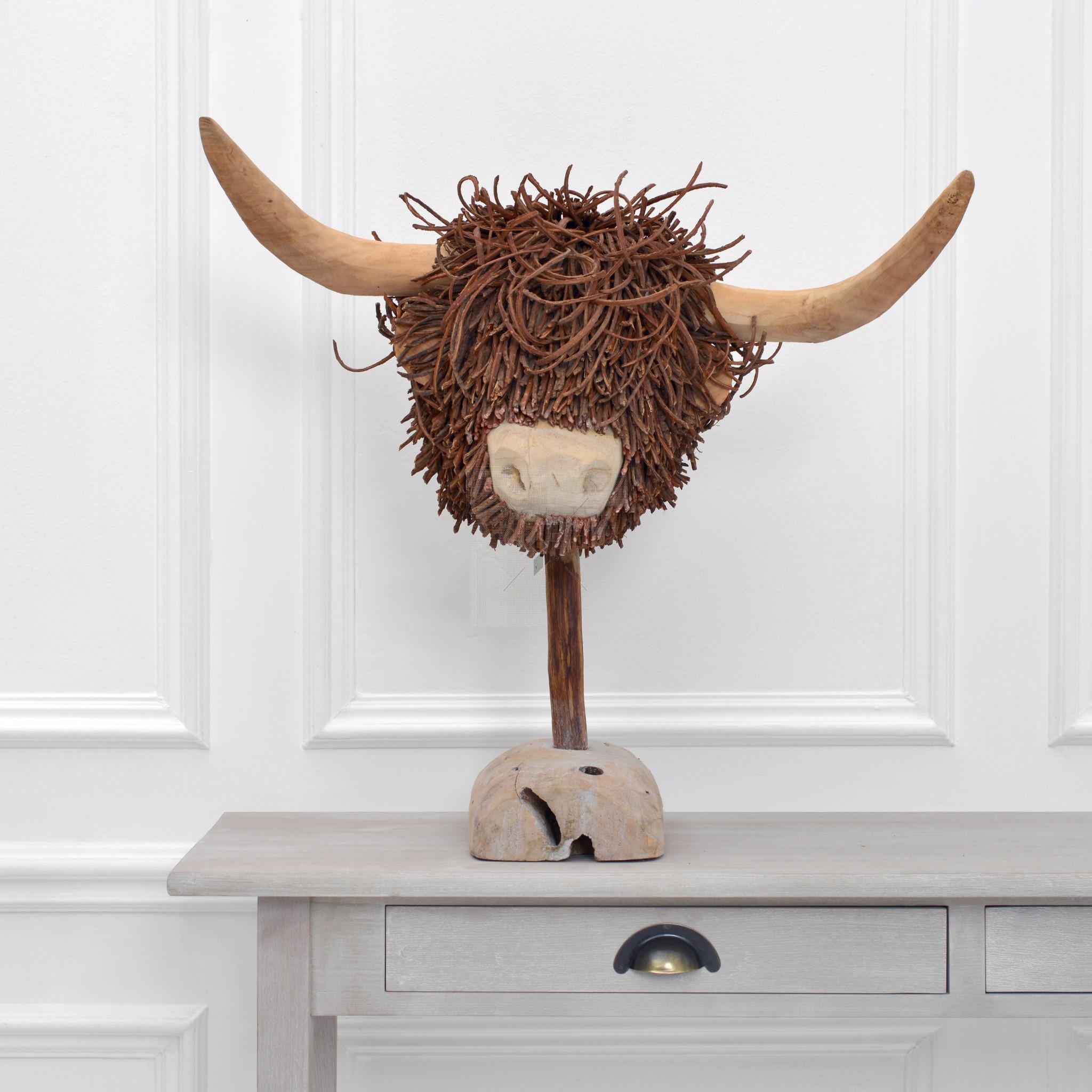 Voyage Maison Highland Cow Wooden Sculpture