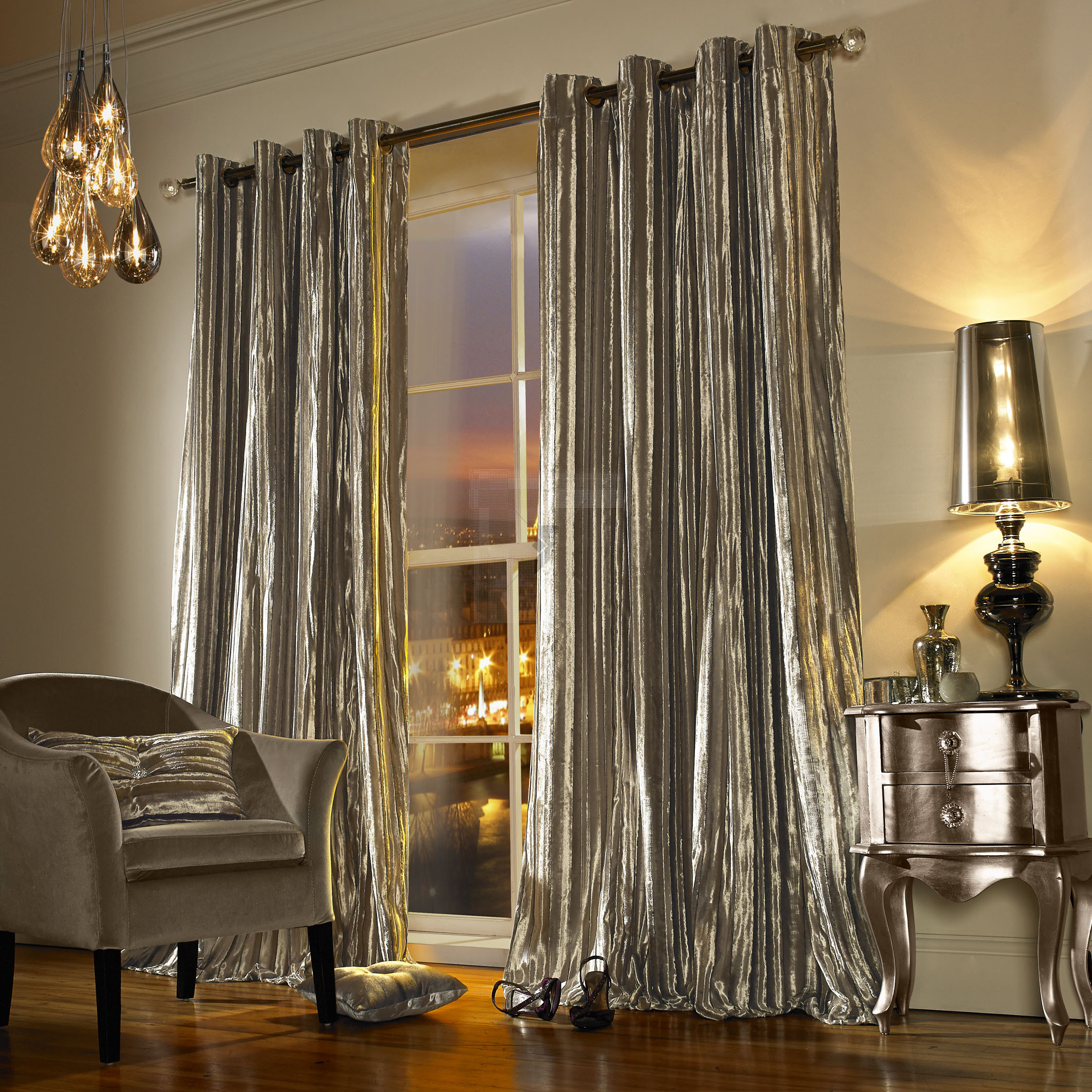 Iliana Praline Lined Eyelet Curtain