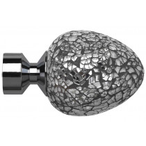 28mm Poles Apart Alexia (Silver Mirror) Finial Pk2 - Polished Graphite