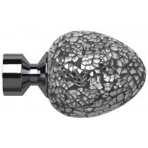 28mm Poles Apart Alexia (Silver Mirror) Finial Pk2 - Polished Graphite
