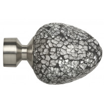 Pair of Poles Apart Hold Back Arms With Pair of Alexia (Silver Mirror) Finials - Satin Silver