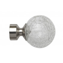 Pair of Poles Apart Hold Back Arms With Pair of Crash Finials - Satin Silver