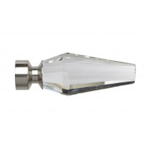 28mm Poles Apart Crystal Finial Pk2 - Satin Silver