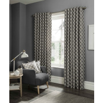 Clarke And Clarke Castello Eyelet Curtains - Charcoal
