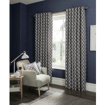 Clarke And Clarke Castello Eyelet Curtains - Indigo