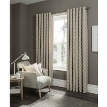 Clarke And Clarke Castello Eyelet Curtains - Mushroom