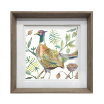 Voyage Maison Tiverton Pheasant 47 x 47cm Framed Artwork - Nut