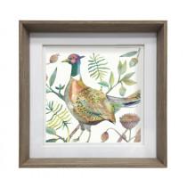 Voyage Maison Tiverton Pheasant 47 x 47cm Framed Artwork - Nut