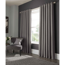 Clarke And Clarke Elba Eyelet Curtains - Grey