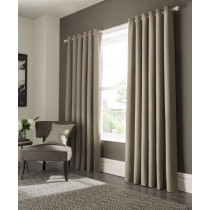 Clarke And Clarke Elba Eyelet Curtains - Linen