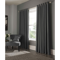 Clarke And Clarke Elba Eyelet Curtains - Steel