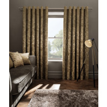 Clarke And Clarke Naples Eyelet Curtains - Gold