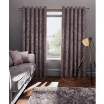 Clarke And Clarke Naples Eyelet Curtains - Heather