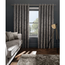 Clarke And Clarke Naples Eyelet Curtains - Taupe