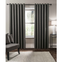 Clarke And Clarke Verona Eyelet Curtains - Charcoal