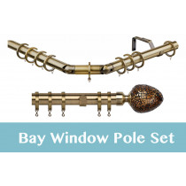 28mm Poles Apart Premier 3-Sided Bay Pole With Pair of Alexia (Bronze Mirror) Finials - Antique Brass - 420cm