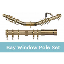 28mm Poles Apart Premier 3-Sided Bay Pole With Pair of Aspect Finials - Antique Brass - 420cm