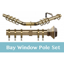 28mm Poles Apart Premier 3-Sided Bay Pole With Pair of Aztec Finials - Antique Brass - 420cm