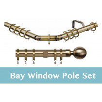 28mm Poles Apart Premier 3-Sided Bay Pole With Pair of Ball Finials - Antique Brass - 420cm