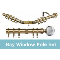 28mm Poles Apart Premier 3-Sided Bay Pole With Pair of Bella Finials - Antique Brass - 420cm