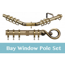 28mm Poles Apart Premier 3-Sided Bay Pole With Pair of Boulevard Finials - Antique Brass - 420cm