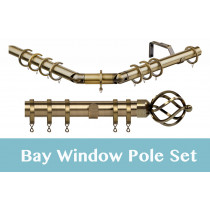 28mm Poles Apart Premier 3-Sided Bay Pole With Pair of Cage Finials - Antique Brass - 420cm