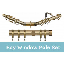 28mm Poles Apart Premier 3-Sided Bay Pole With Pair of End Cap Finials - Antique Brass - 420cm