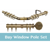 28mm Poles Apart Premier 3-Sided Bay Pole With Pair of Mia Finials - Antique Brass - 420cm