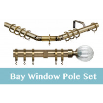 28mm Poles Apart Premier 3-Sided Bay Pole With Pair of Monarchy Finials - Antique Brass - 420cm