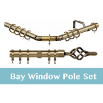 28mm Poles Apart Premier 3-Sided Bay Pole With Pair of Piazza Finials - Antique Brass - 420cm
