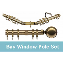 28mm Poles Apart Premier 3-Sided Bay Pole With Pair of Sphere Finials - Antique Brass - 420cm