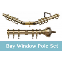 28mm Poles Apart Premier 3-Sided Bay Pole With Pair of Vienna Finials - Antique Brass - 420cm