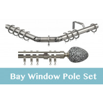 28mm Poles Apart Premier 3-Sided Bay Pole With Pair of Alexia (Silver Mirror) Finials - Satin Silver - 420cm