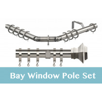 28mm Poles Apart Premier 3-Sided Bay Pole With Pair of Aztec Finials - Satin Silver - 420cm