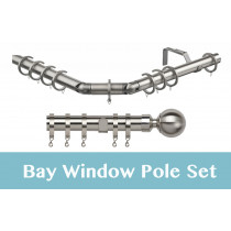 28mm Poles Apart Premier 3-Sided Bay Pole With Pair of Ball Finial (Vista) Finials - Satin Silver - 420cm