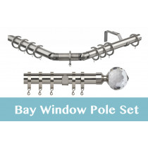 28mm Poles Apart Premier 3-Sided Bay Pole With Pair of Bella Finials - Satin Silver - 420cm