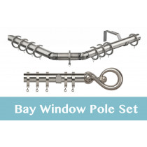 28mm Poles Apart Premier 3-Sided Bay Pole With Pair of Boulevard Finials - Satin Silver - 420cm