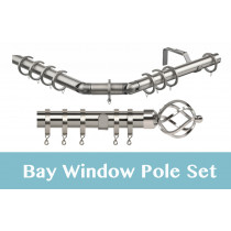 28mm Poles Apart Premier 3-Sided Bay Pole With Pair of Cage Finials - Satin Silver - 420cm