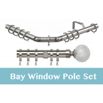 28mm Poles Apart Premier 3-Sided Bay Pole With Pair of Crash Finials - Satin Silver - 420cm
