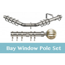 28mm Poles Apart Premier 3-Sided Bay Pole With Pair of Dynasty Finials - Satin Silver - 420cm