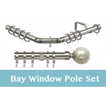 28mm Poles Apart Premier 3-Sided Bay Pole With Pair of Empire Finials - Satin Silver - 420cm