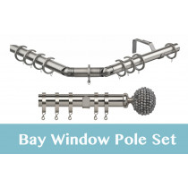 28mm Poles Apart Premier 3-Sided Bay Pole With Pair of Mia Finials - Satin Silver - 420cm