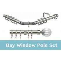 28mm Poles Apart Premier 3-Sided Bay Pole With Pair of Monarchy Finials - Satin Silver - 420cm