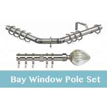 28mm Poles Apart Premier 3-Sided Bay Pole With Pair of Sovereign Finials - Satin Silver - 420cm