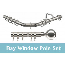28mm Poles Apart Premier 3-Sided Bay Pole With Pair of Sphere Finials - Satin Silver - 420cm