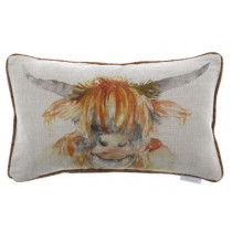 Voyage Maison Highland Cow Cushion - Linen