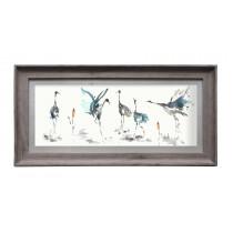 Voyage Maison Cranes Cobalt 71.8 X 36cm Framed Artwork - Stone