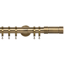28mm IDC Poles Apart Fixed Pole With Pair of Aspect Finials - Antique Brass