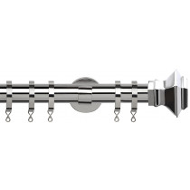 28mm IDC Poles Apart Fixed Pole With Pair of Aztec Finials - Chrome